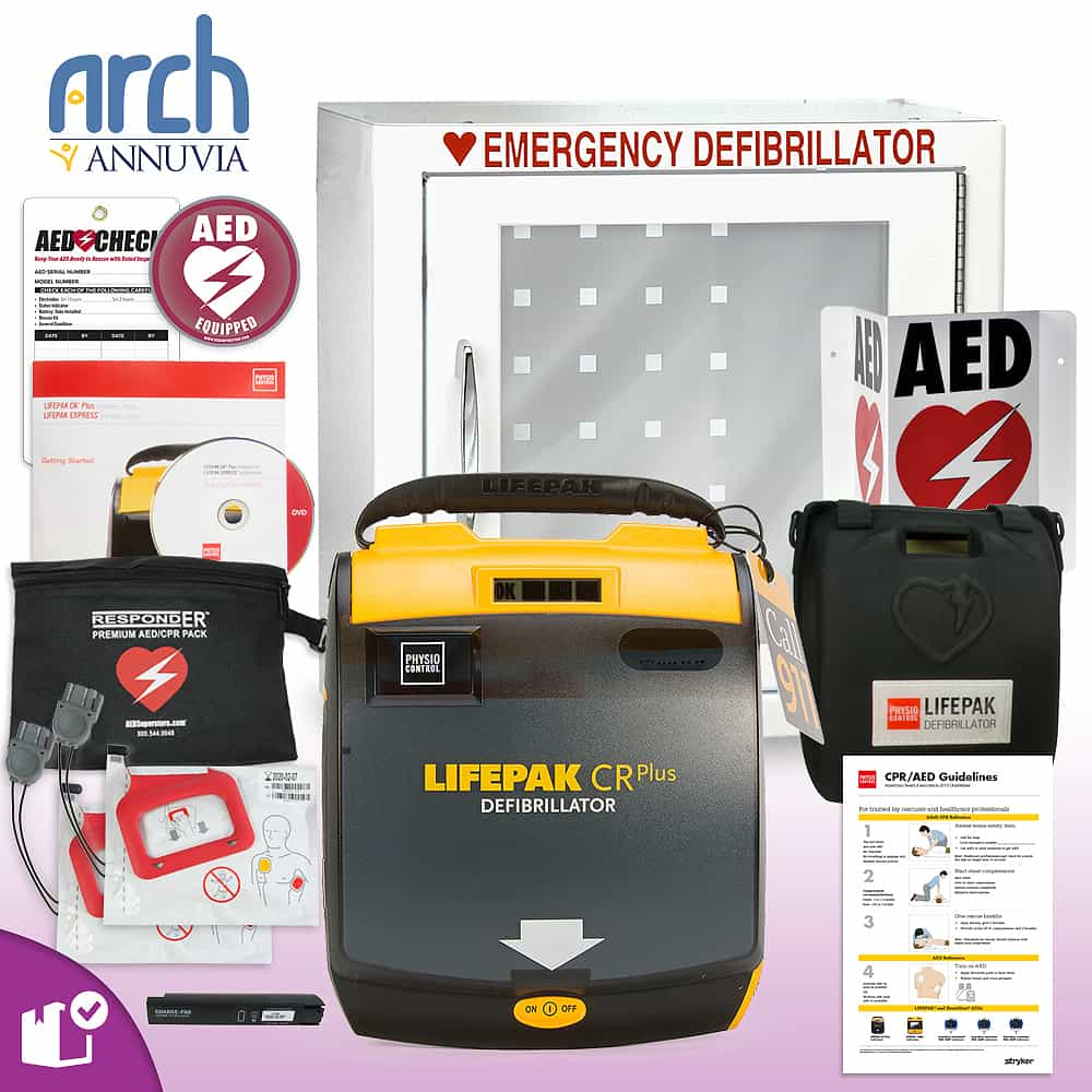 Physio-Control LIFEPAK CR Plus AED Complete Value Package Basic Cabinet