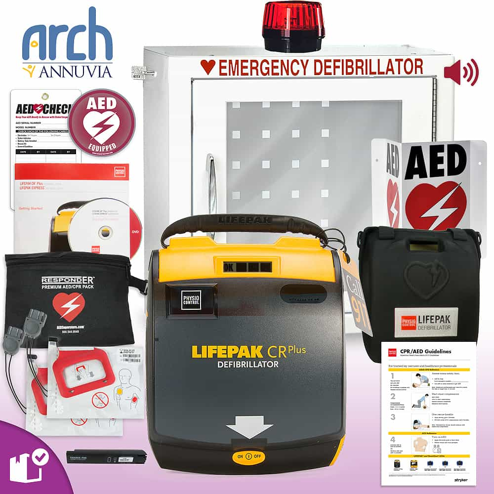 Physio-Control LIFEPAK CR Plus AED Complete Value Package Strobe and Alarm Cabinet