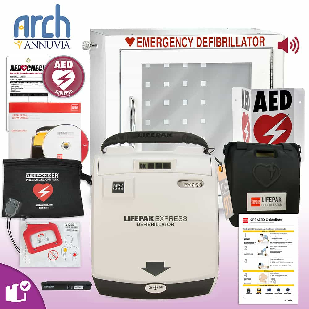 Physio-Control LIFEPAK EXPRESS AED Complete Value Package Alarm Cabinet