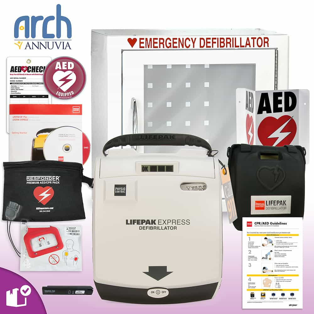 Physio-Control LIFEPAK EXPRESS AED Complete Value Package Basic Cabinet