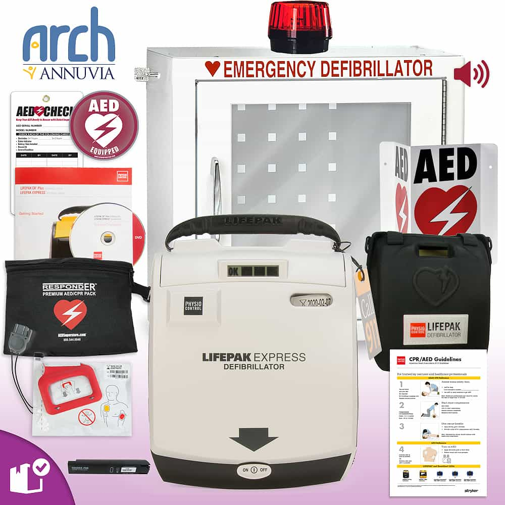 Physio-Control LIFEPAK EXPRESS AED Complete Value Package Strobe and Alarm Cabinet