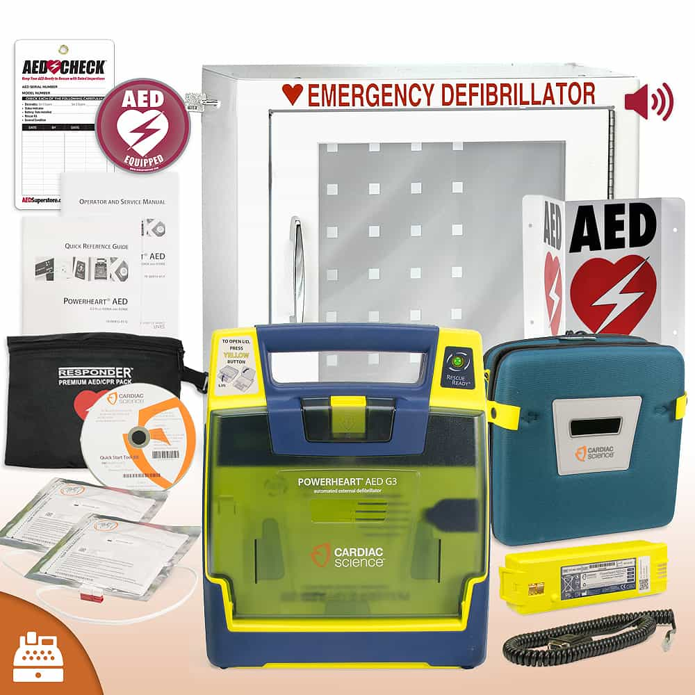 Cardiac Science Powerheart G3 AED Small Business Value Package Alarmed Cabinet