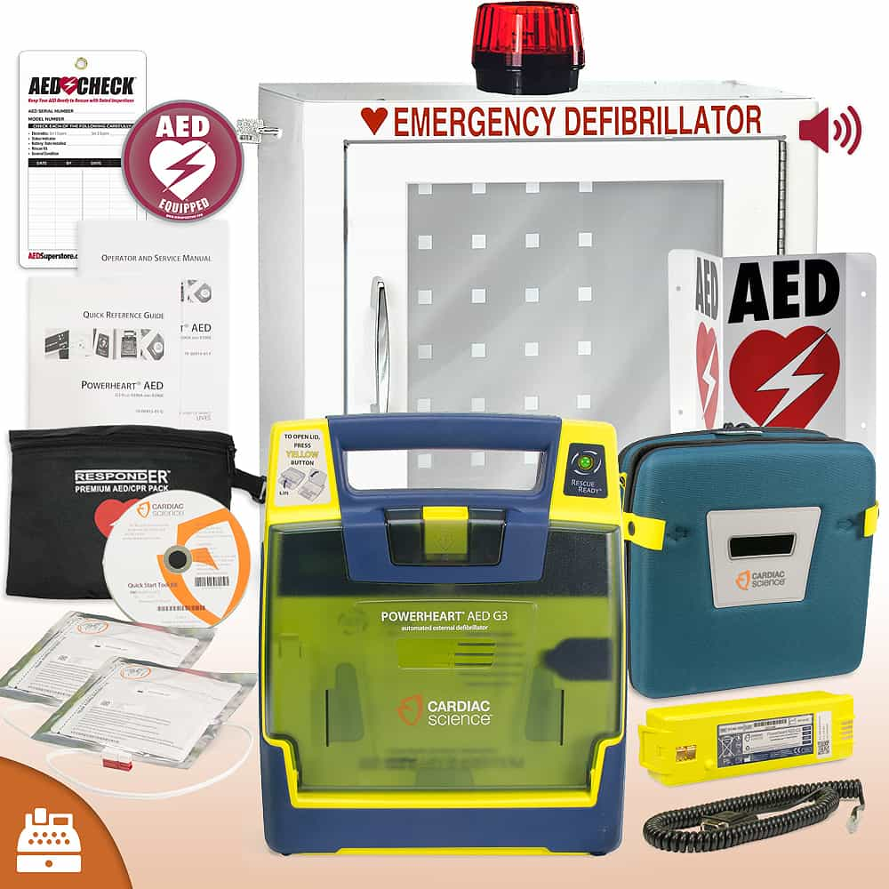 Cardiac Science Powerheart G3 AED Small Business Value Package Strobe and Alarm Cabinet