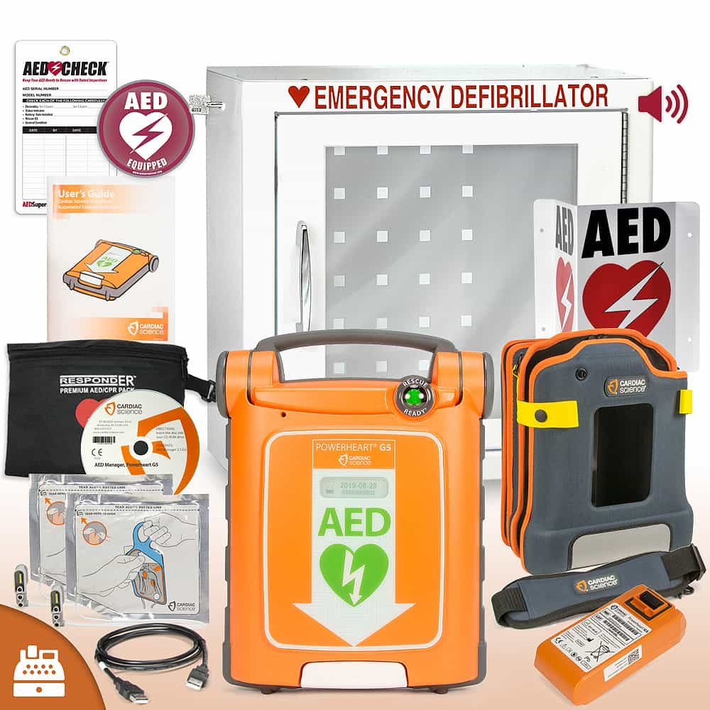 Cardiac Science Powerheart® G5 AED Small Business Value Package Alarmed Cabinet