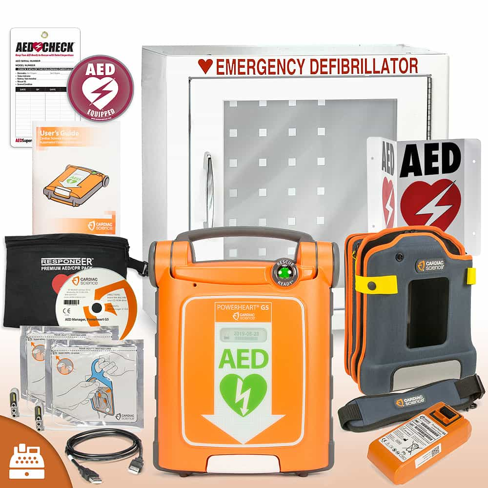 Cardiac Science Powerheart® G5 AED Small Business Value Package Basic Cabinet