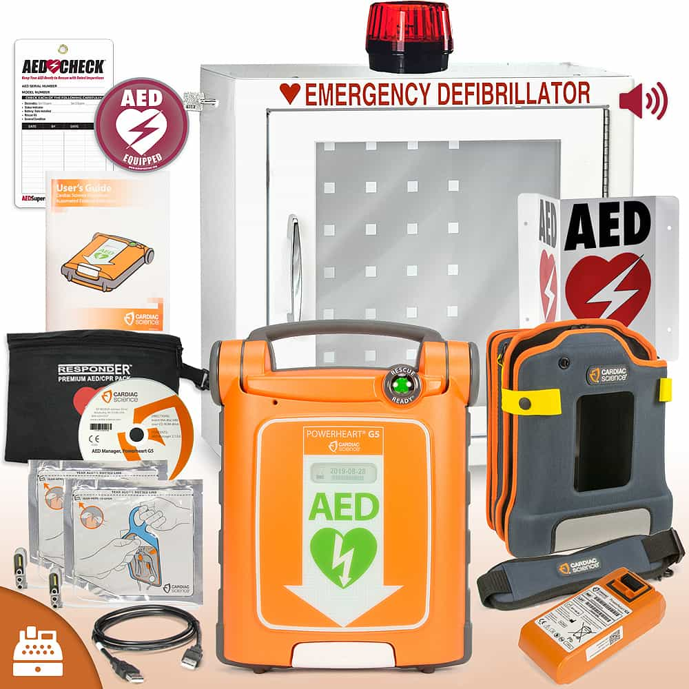 Cardiac Science Powerheart® G5 AED Small Business Value Package Alarm and Strobe Cabinet