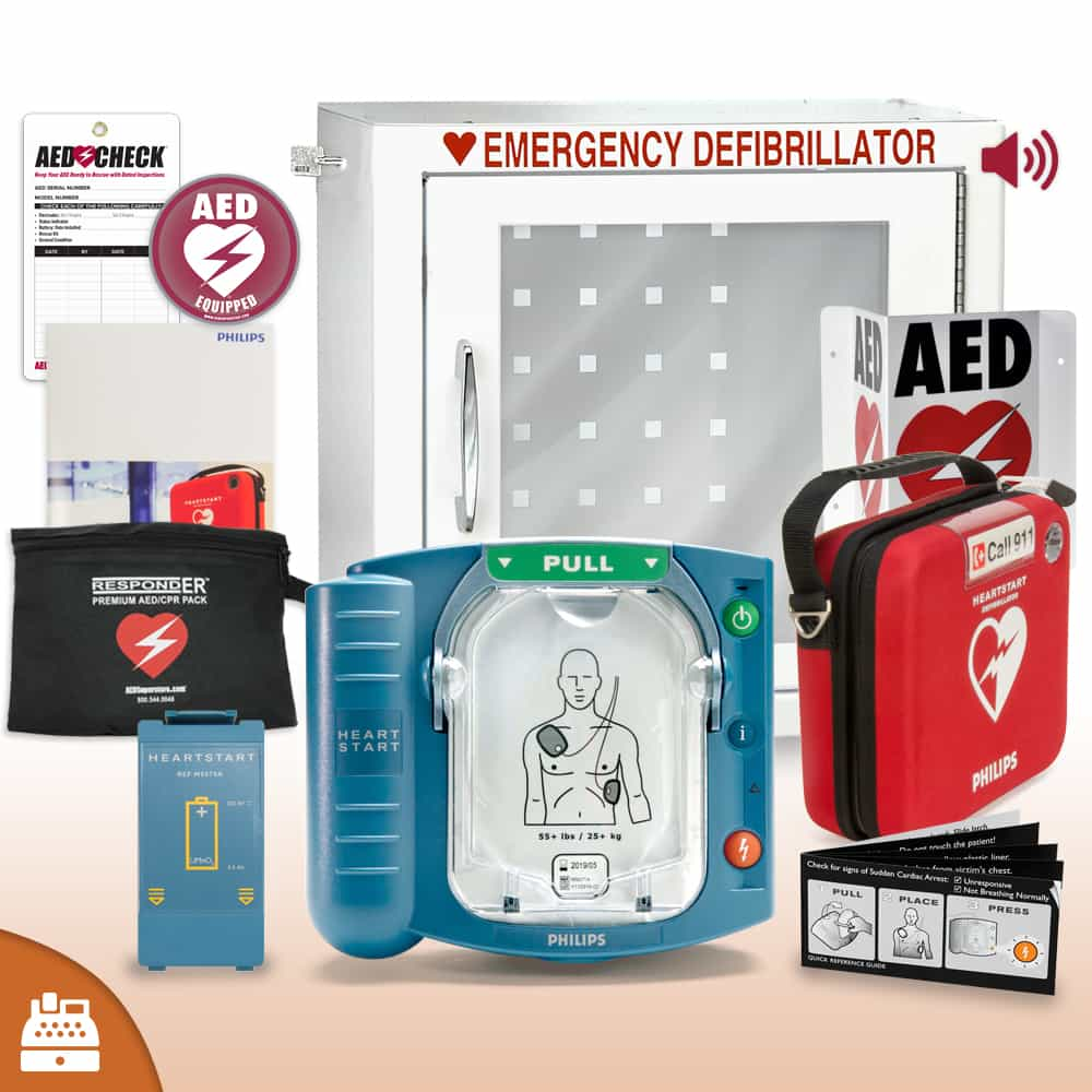 Philips HeartStart OnSite AED Small Business Value Package with Alarmed Cabinet