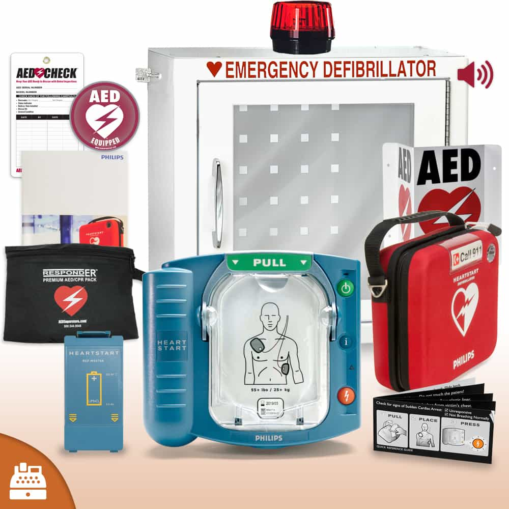 Philips HeartStart OnSite AED Small Business Value Package with Strobed and Alarmed Cabinet