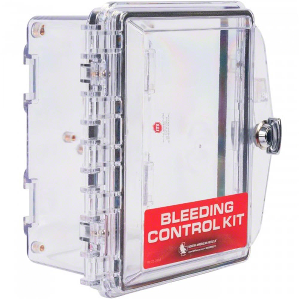 Clear Wall Cabinet for Individual Bleeding Control Kits by North American Rescue
