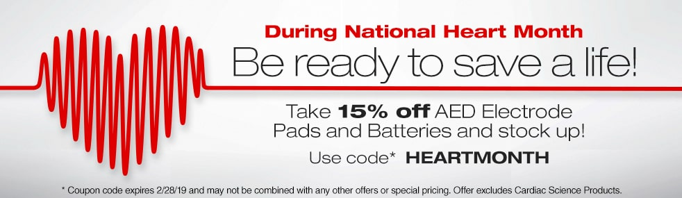 Take 15% off AED Electrode Pads and Batteries