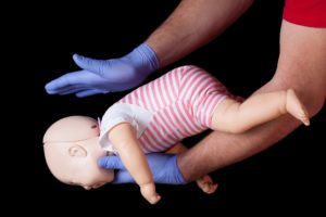 First aid for choking infant