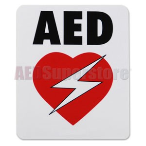 "High-Performance Weatherproof Vinyl AED Decal (6"" x 5"")"