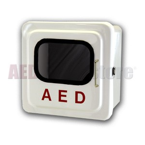 Outdoor White AED Cabinet without Audible Alarm or Strobe Light