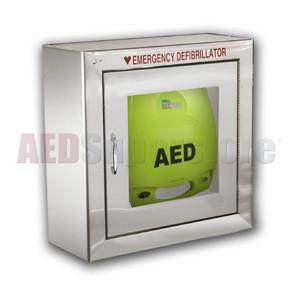 ZOLL® AED Plus® Standard Size Stainless Steel AED Cabinet without Audible Alarm or Strobe Light