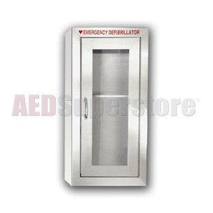 Tall Stainless Steel AED Cabinet without Audible Alarm or Strobe Light