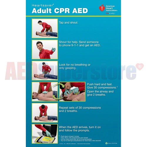 AHA 2015 Heartsaver Adult CPR AED Poster - 3 pk