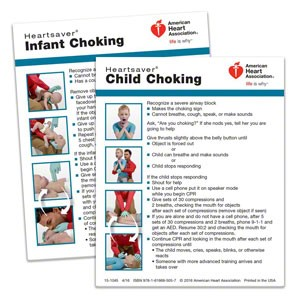 AHA 2015 Heartsaver Child & Infant Choking Wallet Card- 100 pk