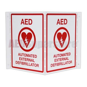 Metal AED Projection Style Wall Sign