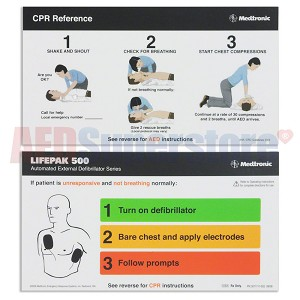 Physio-Control LIFEPAK 500® AED Quick Reference Card
