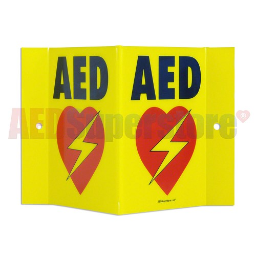 AED Projection Style Wall Sign (Yellow) for Resale