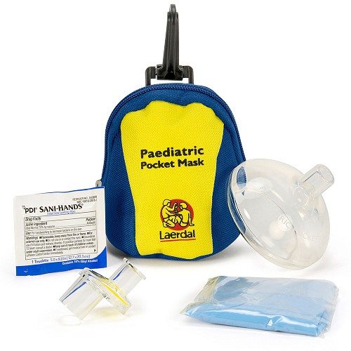 Laerdal Pediatric Pocket Mask w/Gloves and Wipe in Blue/Yellow Soft Pack