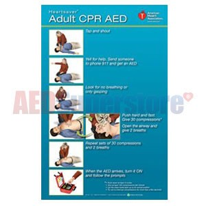 AHA 2010 Heartsaver Adult CPR AED Poster - 3 pk