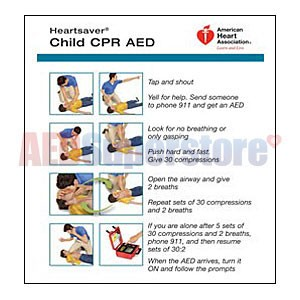 AHA 2010 Heartsaver Child & Infant CPR AED Wallet Card- 100 pk