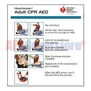AHA 2010 Heartsaver Adult CPR AED Wallet Card- 100 pk