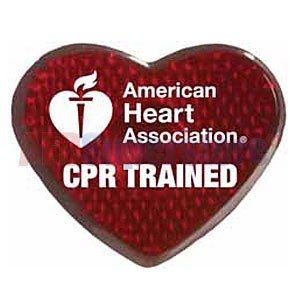 "AHA Red Blinking ""CPR Trained"" Pin"