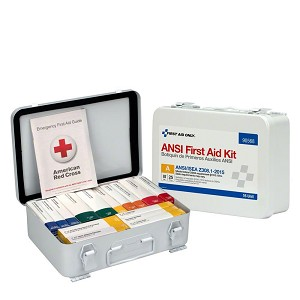 25 Person 16 Unit ANSI A First Aid Kit, Steel, Weatherproof Case