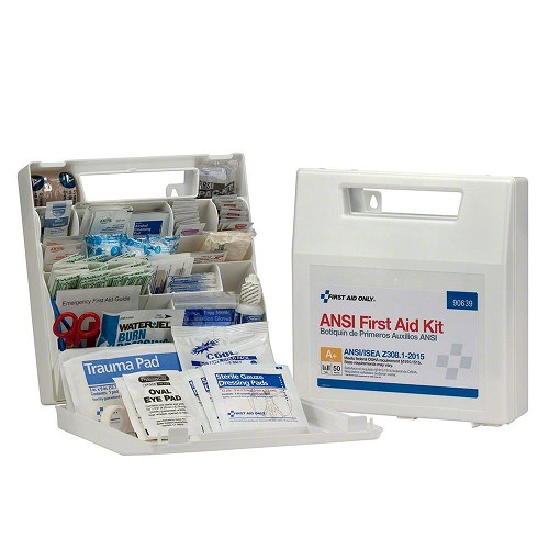 FAO 50 Person Bulk Plastic First Aid Kit With Dividers, ANSI A+, Type I & II