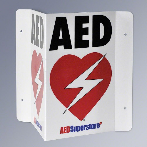 RespondER® Flexible AED Wall Sign - Black & Red on White