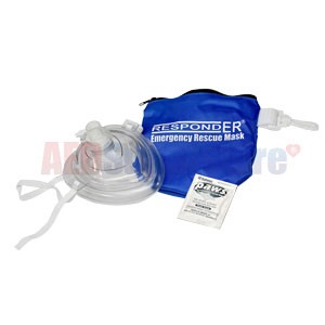 RespondER® CPR Mask w/Wipe in Soft Blue Bag