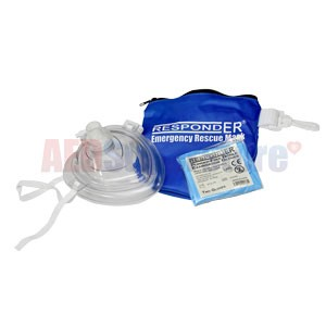 RespondER® CPR Mask w/Gloves in Soft Blue Bag