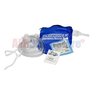 RespondER® CPR Mask in Soft Blue Bag w/Gloves and Wipe