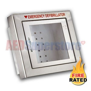 RespondER® Premium Fire-Rated Compact Size Stainless Steel AED Wall Cabinet