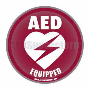 "AED Equipped Facility Static Cling Window Decal - 4"" Diameter"