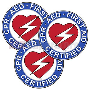 "CPR/AED/First Aid Round Decal - 2.5"" Diameter (3 pack)"