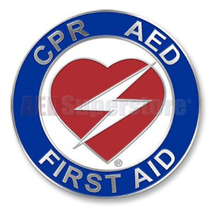 "Heart CPR/AED/First Aid Certification Pin - 1"" Diameter"