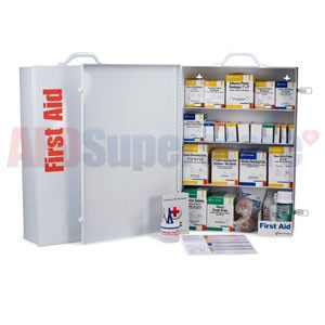 FAO 4 Shelf Industrial First Aid Station - 150 Person, 1060 Piece, w/Metal Case