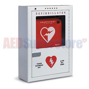 Philips Premium AED Cabinet - Standard Size Surface-Mount with Audible Alarm and Strobe Light