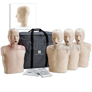 Prestan Professional Adult Jaw Thrust Medium Skin Manikin (4-Pack) without CPR Monitor