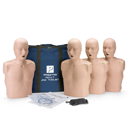 Prestan Professional Adult Jaw Thrust Medium Skin Manikin (4-Pack) with CPR Monitor