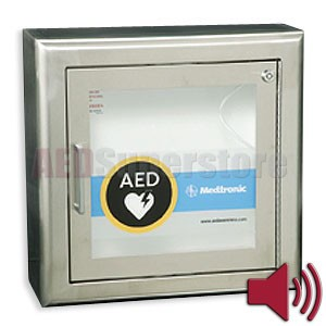 Physio-Control AED Cabinet Surface-Mount Stainless Steel with Audible Alarm