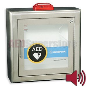 Physio-Control AED Cabinet Stainless Steel Surface-Mount with Strobe Light and Audible Alarm