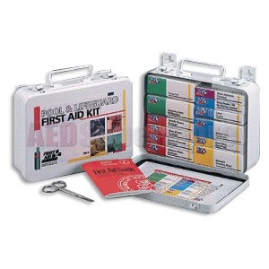 FAO Pool & Lifeguard First Aid Kit - 16 Unit, 99 Piece Kit, Metal Case w/Gasket