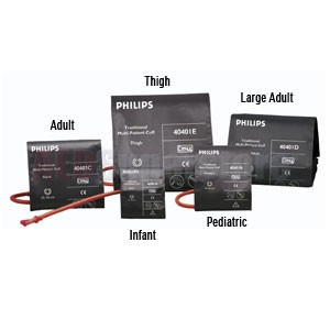 Cuff Kit 5pc Reusable (Infant, Pediatric, Adult, Large Adult, Thigh) for Philips HeartStart MRx/XL+ Monitor/Defibrillators