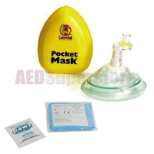 Laerdal Pocket Mask w/Gloves and Wipe in Yellow Hard Case