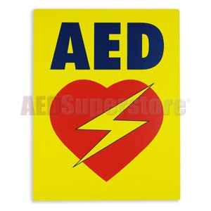 AED Flat Wall Sign (Yellow) for Resale
