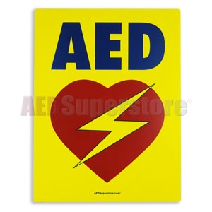AED Flat Wall Sign (Yellow)